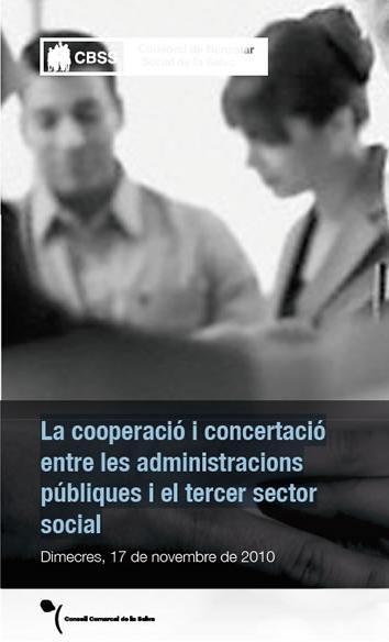 """Portada del díptic de la jornada """"La cooperació i concertació entre les administracions públiques i el tercer sector social"""". Imatge: CBSS"""