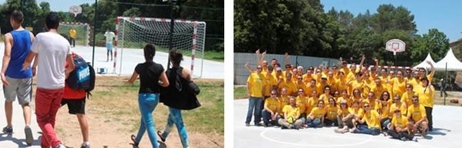 Voluntaris de Gallina Blanca van col·laborar en la millora de la pista poliesportiva del Centre d'Acollida Mas Garriga. Imatges: Fundació Resilis
