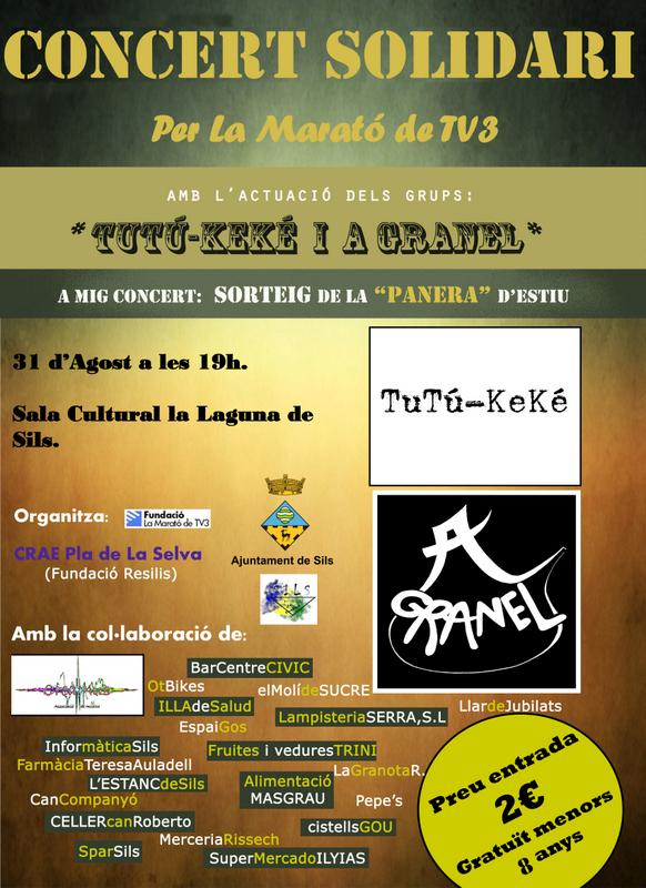 Cartell del concert solidari per la Marató de TV3 que es farà a Sils.